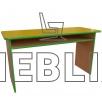 Стол для детского садика двухместный с полкой из ДСП