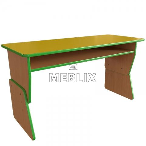 Детский стол двухместный регулируемый по высоте с полкой для садиков