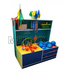 Шкаф с ящиками для спортивного инвентаря в детский сад