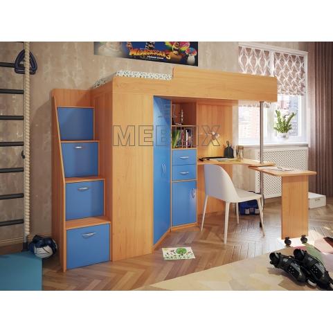 Кровать чердак Эверест с лестницей комод в детскую комнату