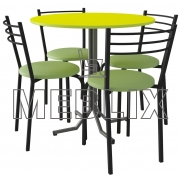 Обеденный комплект для кафе: Стол ДУЭТ + 4 стула НИКА