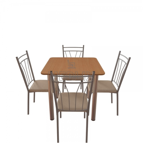 Мебельный комплект для кафе: стол обеденный Хром + 4 стула Кристи