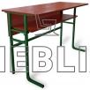 Купить стол аудиторный ученический двухместный c передней панелью и полкой в Украине