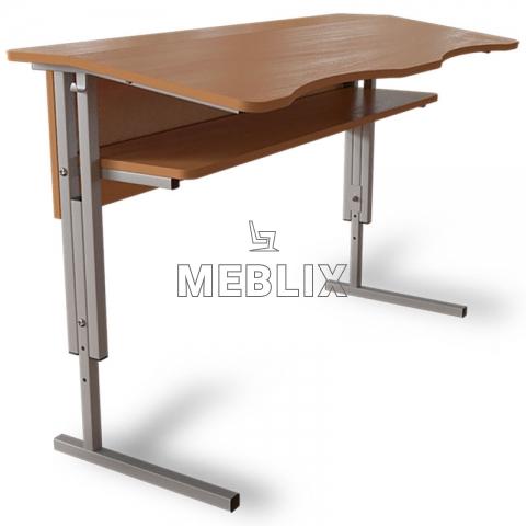 Антисколиозный аудиторный стол двухместный регулируемый по высоте с передней панелью и полкой