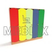 Шкаф для детской раздевалки с цветными дверьми (5 секций)