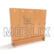 Шкаф для детской раздевалки с лавкой (5 секций)