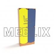 Шкафы для детской раздевалки с цветными дверцами (2 секции)