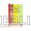 Детский шкафчик для раздевалки с цветными дверцами и лавкой