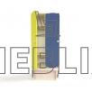 Шкафчик для детской раздевалки с цветными дверьми и лавкой (2 секции)