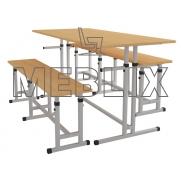 Комплект для школьной столовой регулируемый по высоте ( стол и две лавки )