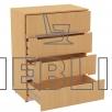 Комод КМ-1 на четыре ящика с тремя ручками